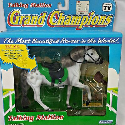Grand Champions Horse 1992 Talking Stallion 50028 Play Set NIB Silver Toy New