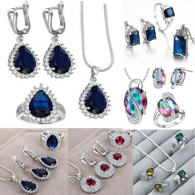 925 Silver Filled Crystal Gem Zircon Earring Ring Necklace Wedding Jewelry Set