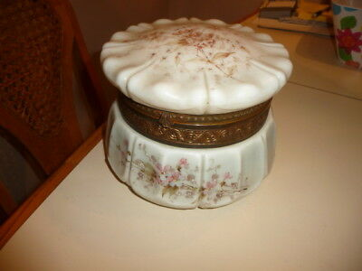 Large Antique Victorian Signed WAVE CREST Art Glass Dresser Jar Hand Painted