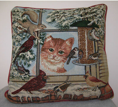 Vintage Riverdale Tapestry CAT Throw Pillow Winter Scene Squirl Flowers Birds