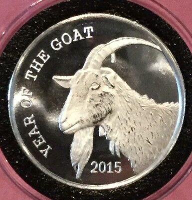 2015 Year Of The Goat 1 Troy Oz .999 Fine Silver Ag Rare Round Collectible Coin