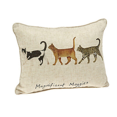 """Magnificent Moggies"" Country Cat Pillow, Linen Mix Cushion ca 11"" x 15"""