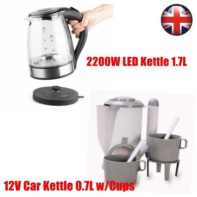 Household Portable Travel Electric 12V/230V Kettle Camping Kitchen Tea Coffee