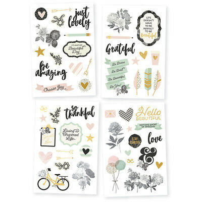 Simple Stories - Beautiful - 4 Sheets of 4 x 6 Stickers with Gold Foil Accents