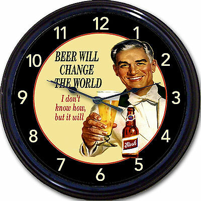 """Beer Will Change The World... Wall Clock Ale Lager Brew Man Cave New 10"""""""