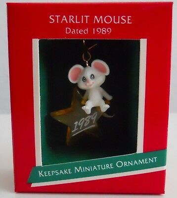 1989 Hallmark Miniature Ornament white Mouse on Star, MIB