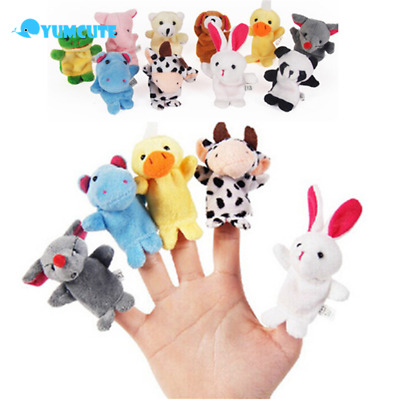 10PCS Family Finger Puppets Plush Doll Baby Educational Hand Cartoon Animal Toy