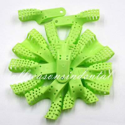 50 Pcs Disposable Dental Plastic Impression Trays Perforated Autoclavable Holder