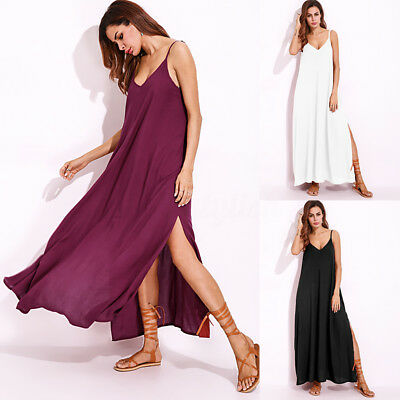 ZANZEA Women Plus Size Boho Evening Party Long Dress Slit Beach Maxi Sundress