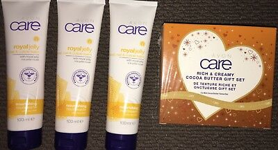 Avon 3 x Care Royal Jelly Hand, Nail & Cuticle Balms 100ml & Cocoa Butter Gift S