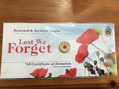 $2 2012 Coin  Red Poppy Lest We Forget On  RSL Card- Card Bent