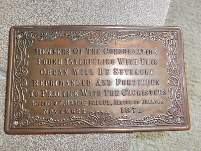 old collectible copper music organ plate