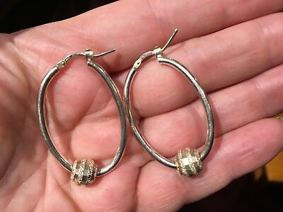 """Quality sterling silver earings with silver ball marked """"925 Italy"""" weigh 5.10 g"""