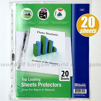 20 Top Loading Clear SHEET PROTECTORS Fits 3 Ring Binder 8.5 x 11 Paper Page C57