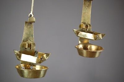 Antique French Brass Betty Lights Pair Of