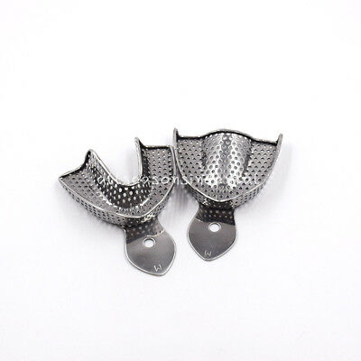 2pcs Middle Dental Metal Stainless Steel Perforated Impression Trays Upper/Lower