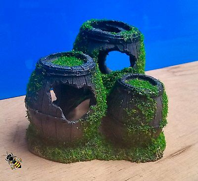 Aquarium Ornament 3 Sunken Barrels and Moss Fish Tank Decoration New