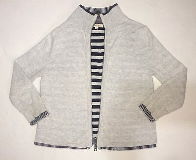 SEED Reversible Cotton Knot Cardigan Zip Up Gray & Navy Blue Stripe