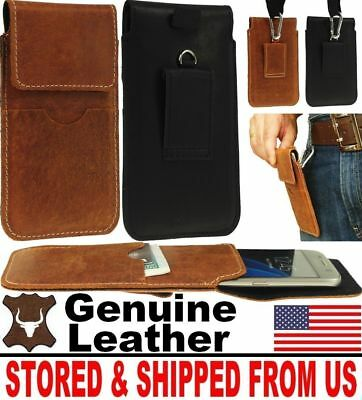# Handy Genuine Leather Belt Loop & Hook Holster Case Cover For Mobile Phones