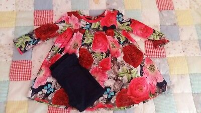 Baby Girl's Ted Baker Floral Dress and Leggings 3-6 Months