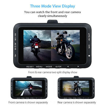 Motorcycle Motorbike Mount Action 0.3MP HD Dual Camera Video DashCam Recorder