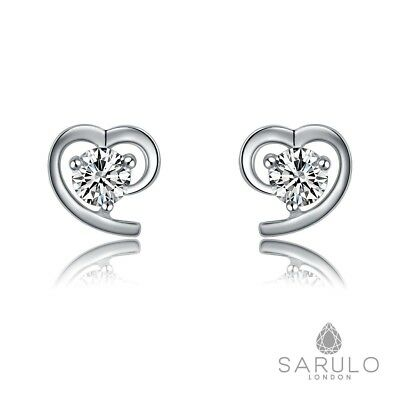 925 Sterling Silver Heart Stud Earrings Fashion Sarulo Jewelry Solid w/ Gift Box