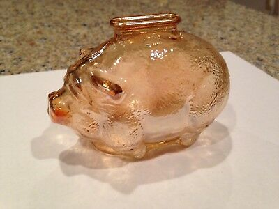 Vintage Carnival Glass Pig Piggy Bank by Anchor Hocking