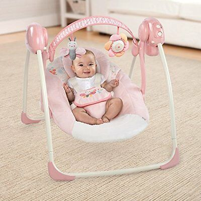 Baby Swing Infant Cradle Portable Sounds 6 Speed Folding Chair Girls Play Seat