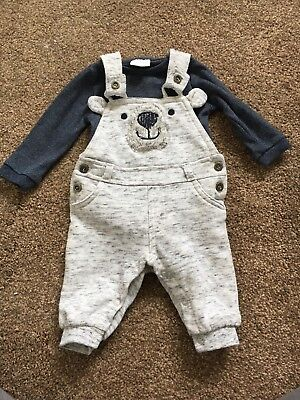 Baby Boys F&F Bear Dungarees 0-3