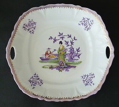 Antique HAND PAINTED over transfer PORCELAIN SERVING CAKE PLATE CHINESE design