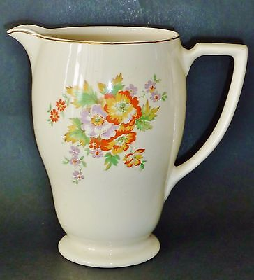 WWII era c1940 English ART DECO cols shape MILK CUSTARD WATER JUG VASE good size