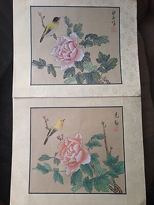 Vintage pair of Chinese hand painted on silk paintings flowers& birds decorative
