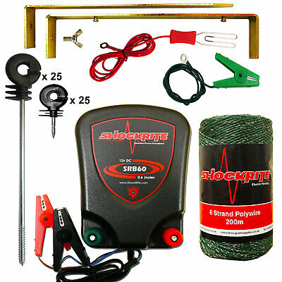 Electric Fence Energiser ShockRite SRB60 200m Green Polywire 25 Distance 25 Ring