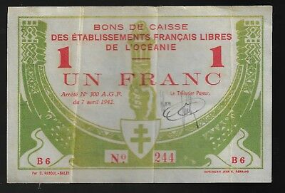French Oceania 1 Franc 1942 Pic# 8  WWII  (CRISP XF VERY RARE)