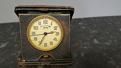 Vintage Travel Alarm Clock in Case.