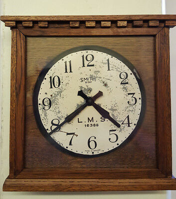 Vintage Wooden L.M.S. 16388 Station Wall Clock
