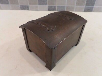 Antique Arts & Crafts Copper Table Box In The Form Of A Small Chest - Circa 1900