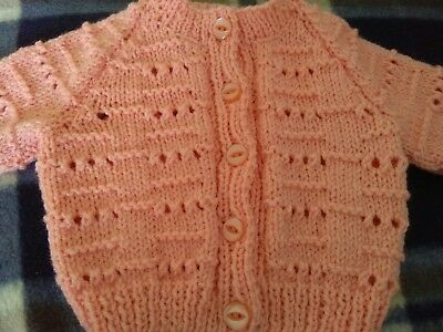 Peach hand knitted baby cardigan - new -  0 to 3 months