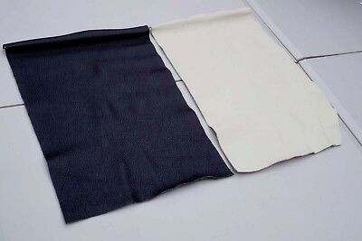 Ivory/Black cowhide leather 2 craft panels/pieces  40 x 25 cm