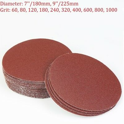 7'' 9'' Hook And Loop Sanding Disc 180mm 225mm Sandpaper Sander Pad Grit 60-1000