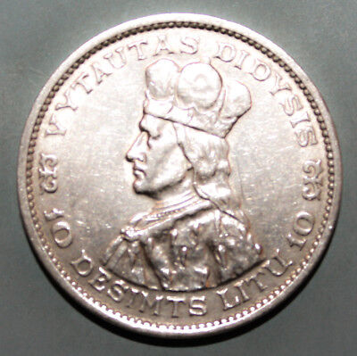 Lithuania 10 Litu 1936 Extremely Fine + Silver Coin - Vytautas The Great