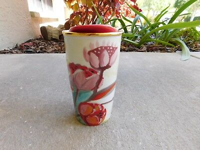 2014 STARBUCKS FLORAL DOUBLE WALL CERAMIC TUMBLER 10 OZ. TRAVEL MUG w/lid