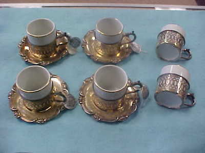 Camusso Peru Sterling Silver Vintage 4 Pc Espresso Set With 2 Extra Cups Liners