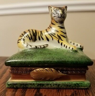 Rochard Hand Painted Limoges Porcelain Tiger on Book Trinket Box