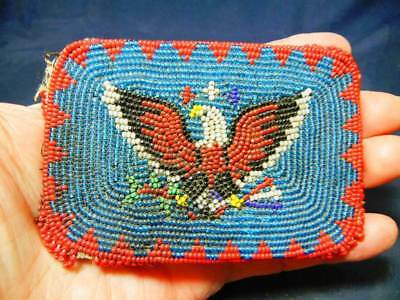 Vintage Native American Indian Beaded Belt Buckle With Eagle
