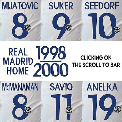 Real Madrid 1999-2000 Home Name Set Printing Kit Name Flocage