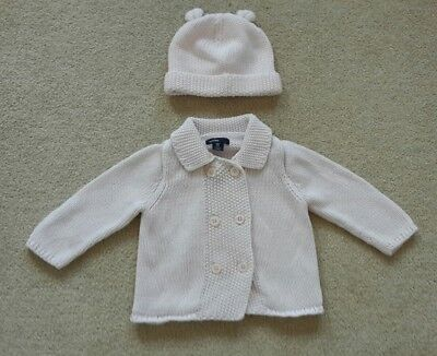 GAP baby girl knitted cardigan and hat 6-12 months