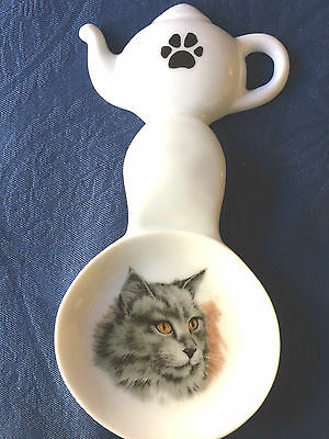 Cat Gray New Handmade Ceramic Porcelain Tea Bag Holder Spoon Rest
