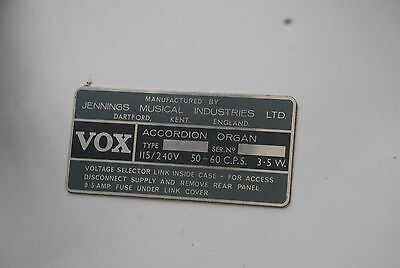 1 x VINTAGE VOX JMI ACCORDION ORGAN MANUFACTURING  INFO PLATE ORIGINAL not ac30