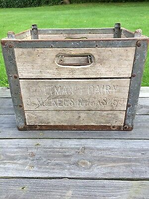 Rare Vintage Hattman's Dairy McKees Rocks Pittsburgh PA Milk Bottle Crate